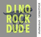 dinosaur illustration rock... | Shutterstock .eps vector #1636635418
