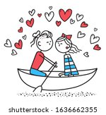 lovers boy and girl sit on boat ... | Shutterstock . vector #1636662355