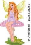 illustration of  fairy sitting... | Shutterstock .eps vector #1636668358