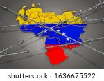 Map Of Venezuela With Barbed...