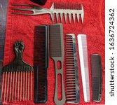 set of various hair combs on... | Shutterstock . vector #1636724362