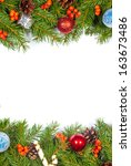christmas background with balls ... | Shutterstock . vector #163673486