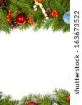 christmas background with balls ... | Shutterstock . vector #163673522
