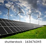 solar energy panels and wind... | Shutterstock . vector #163676345