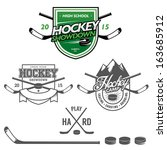 ice hockey labels  badges and... | Shutterstock .eps vector #163685912