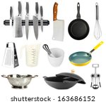 kitchen tools collection... | Shutterstock . vector #163686152