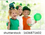 Family celebrating st. patrick...