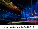 abstract image of Light traces. visualization of hacker attacks on information data server - stock photo