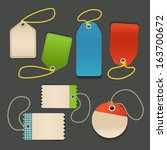 blank shopping tags with rope... | Shutterstock .eps vector #163700672