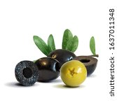 green and black olives low poly.... | Shutterstock .eps vector #1637011348
