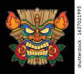 vector holiday mask tiki ... | Shutterstock .eps vector #1637021995
