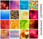 set of multicolored geometric... | Shutterstock .eps vector #163703996