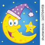 smiling crescent moon with... | Shutterstock .eps vector #163704458