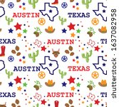 seamless pattern with texas... | Shutterstock .eps vector #1637082958