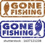 Gone Fishing Stamps. Grunge...