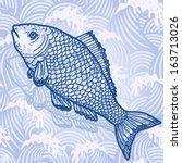 sea fish. original hand drawn... | Shutterstock .eps vector #163713026