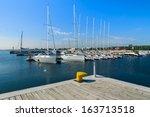 Marina With Yacht Boats And...