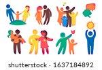 happy family icon multicolored... | Shutterstock .eps vector #1637184892
