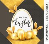 golden easter eggs with rabbit...   Shutterstock .eps vector #1637189065