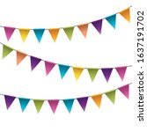 colorful party pennants chain ... | Shutterstock .eps vector #1637191702