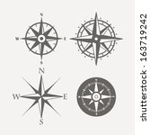 Wind Rose Retro Design Vector...