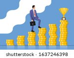 businessman with briefcase goes ... | Shutterstock .eps vector #1637246398