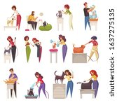 grooming icons set with cats... | Shutterstock .eps vector #1637275135