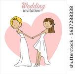 gay marriage wedding invitation....   Shutterstock .eps vector #1637288338