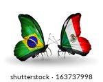 two butterflies with flags on... | Shutterstock . vector #163737998