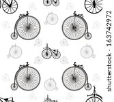 vintage bicycle seamless... | Shutterstock .eps vector #163742972