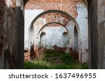 Destroyed Brick Church. Green...