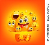 emoji cartoon group smile... | Shutterstock .eps vector #1637605432