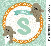 abc animals  s is seal.... | Shutterstock .eps vector #163763072