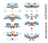 set of christmas and new year... | Shutterstock .eps vector #163764452
