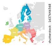 colorful vector map of eu ... | Shutterstock .eps vector #1637646568