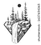 wild natural landscape. tattoo... | Shutterstock .eps vector #1637654365
