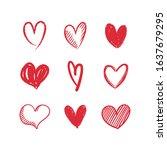 hand drawn hearts. valentine's... | Shutterstock .eps vector #1637679295