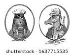 Animal Character. Walrus Sailo...