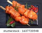Raw Chicken Skewers In Marinade ...