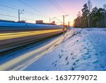 Highspeed Train Moves Fast At...