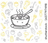 soup and it's ingredients... | Shutterstock .eps vector #1637797498