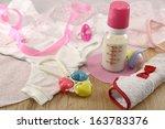 baby still life with milk... | Shutterstock . vector #163783376