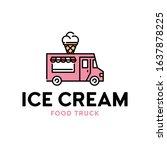 vector street food truck logo... | Shutterstock .eps vector #1637878225