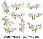 floral arrangements of roses... | Shutterstock .eps vector #1637939182