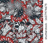 tracery seamless pattern.... | Shutterstock .eps vector #1637974675