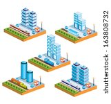set of urban icons of isometric ... | Shutterstock . vector #163808732