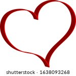 3 d red heart   outline drawing ...   Shutterstock .eps vector #1638093268