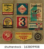 set of car racing emblems and...   Shutterstock .eps vector #163809908