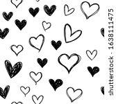heart doodles seamless pattern. ... | Shutterstock .eps vector #1638111475