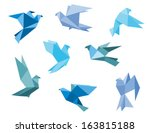 paper pigeons and doves set in... | Shutterstock .eps vector #163815188
